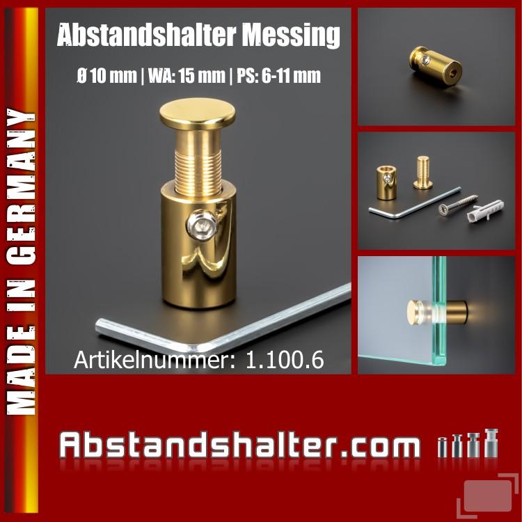 Abstandshalter Messing pol. - zaponiert  Ø 10 mm WA: 15 mm PS: 6-11 mm