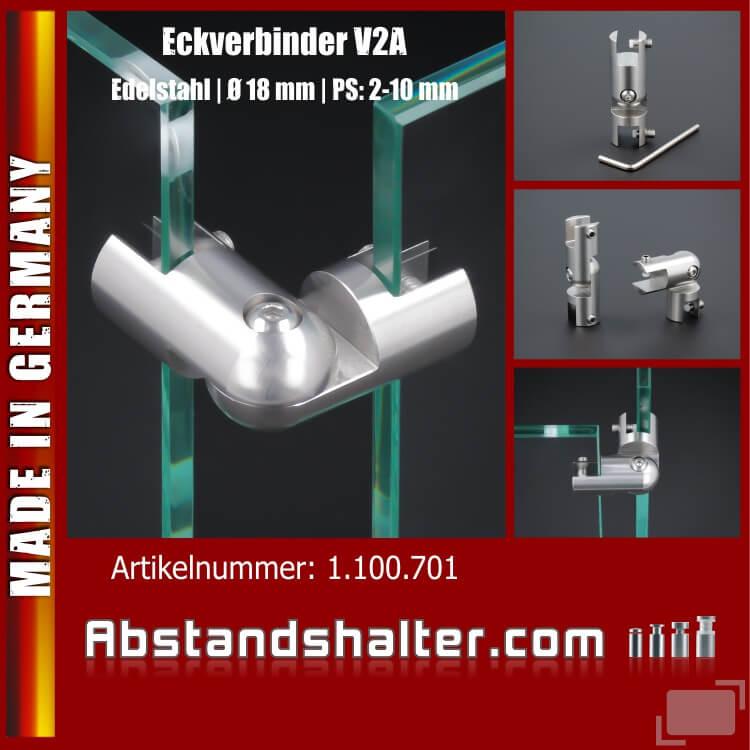 Eckverbinder 90° Edelstahl Spuckschutz Glashalter Platten PS: 2-10 mm Gelenk-Verbinder Scharnier