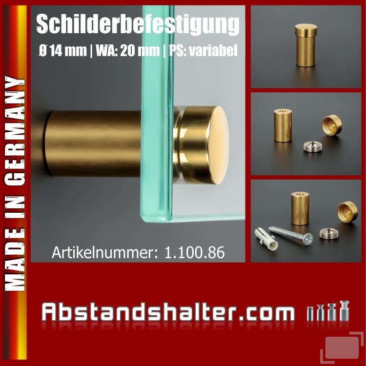 Befestigung Messing pol. zaponiert Gold Ø 14mm WA: 20mm PS: variabel