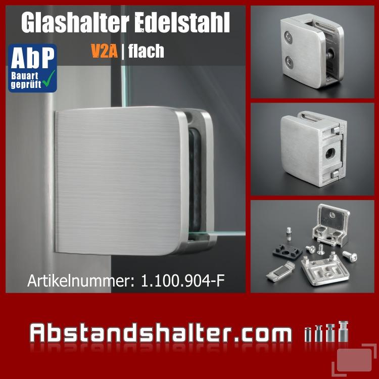 Glashalter 52x52 mm + Sicherung Edelstahl V2A PS:8-12,76 mm | flach