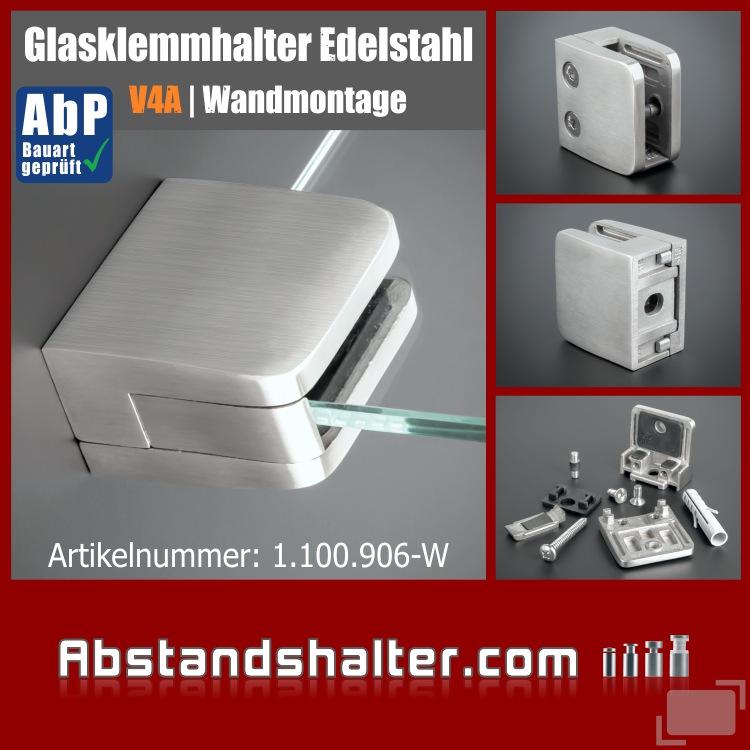 Glasklemmhalter 52x52 mm V4A mit Sicherung PS: 8-12,76mm | Wandmontage