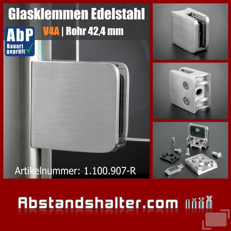 Glasklemme 52x52mm Edelstahl + Sicherung PS: 8-12,76 mm | Rohr Ø 42,4