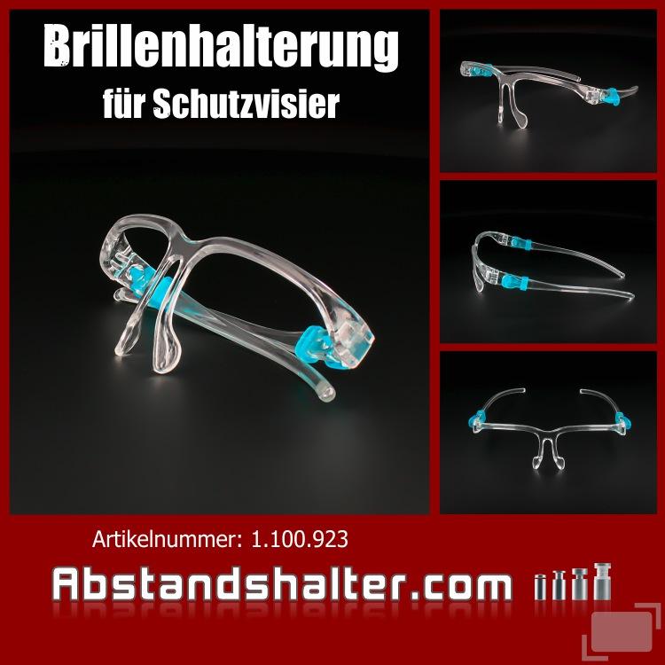 Brillenhalterung für Schutzvisier aus Kunststoff