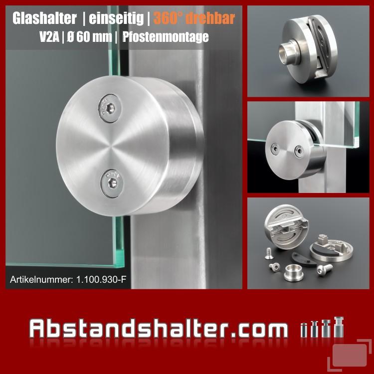 Glashalter Edelstahl rund Ø 60mm Frontmontage flach drehbar 360grad