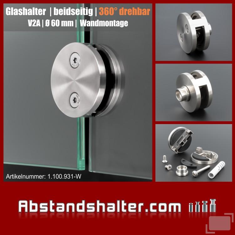 Glashalter Edelstahl rund Ø 60mm Frontmontage flach drehbar 360grad Wandmontage