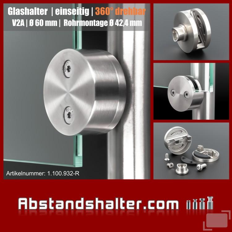 Glashalter Edelstahl rund Ø 60mm Frontmontage rundrohr 42,4 mm drehbar 360grad