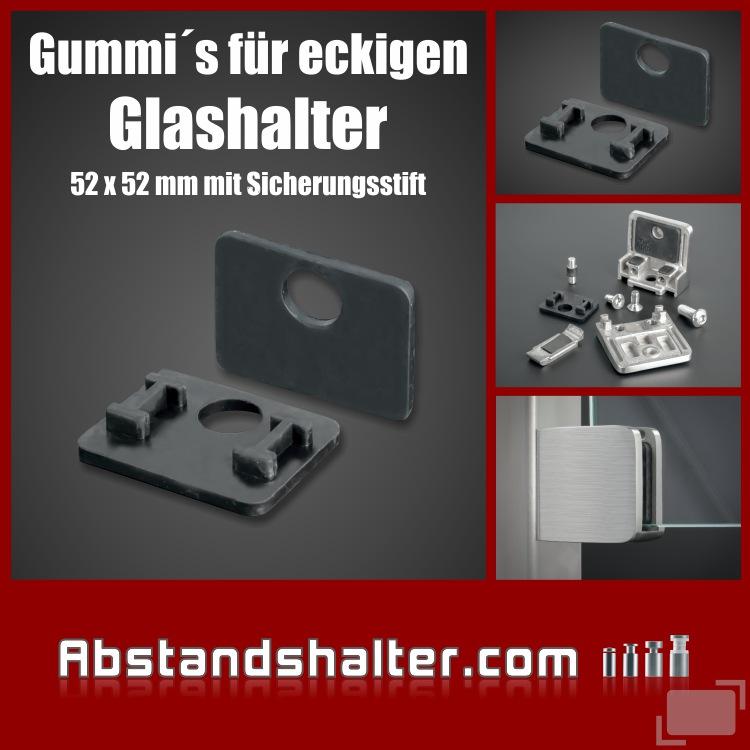2 x Ersatzgummi 12mm eckig für Glasklemme 52x52 mm mit Sicherungsstift