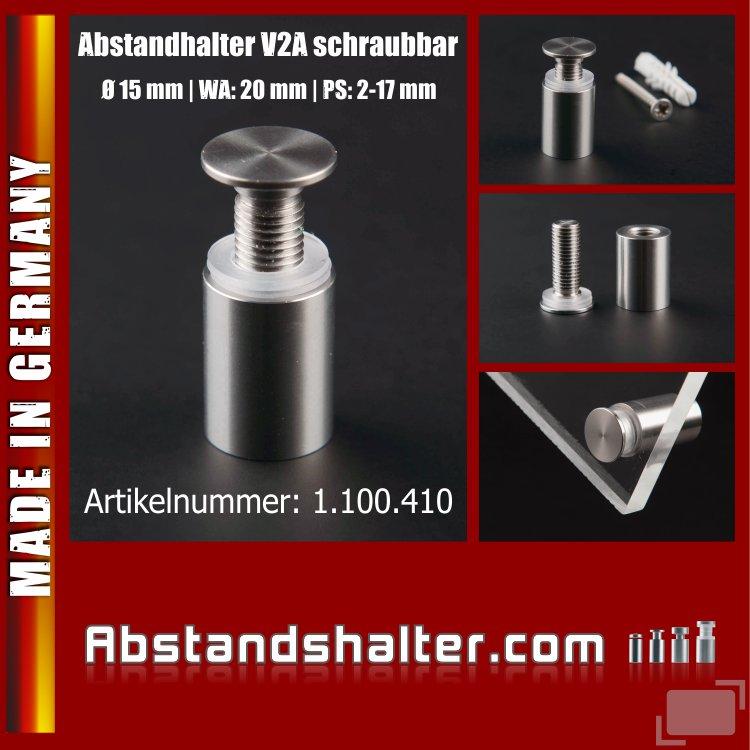 Edelstahl Abstandhalter Ø 15 mm WA: 20 mm schraubbar