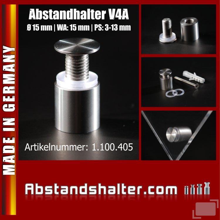 Abstandhalter schraubbar Edelstahl V4A Ø 15 mm WA: 15 mm PS: 3-13 mm