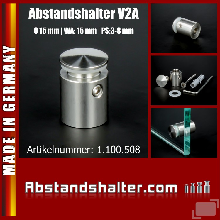 Abstandshalter Edelstahl Ø 15 mm WA:15 mm PS: 3-8 mm angeschrägt | V2A