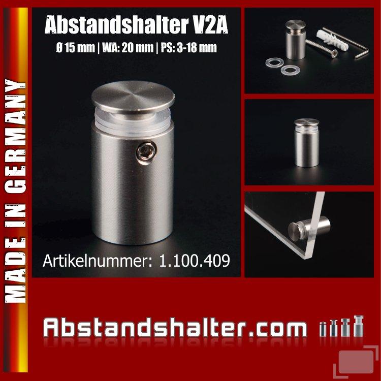 Abstandshalter rund Edelstahl V2A Ø 15 mm WA: 20 mm PS: 3-18 mm