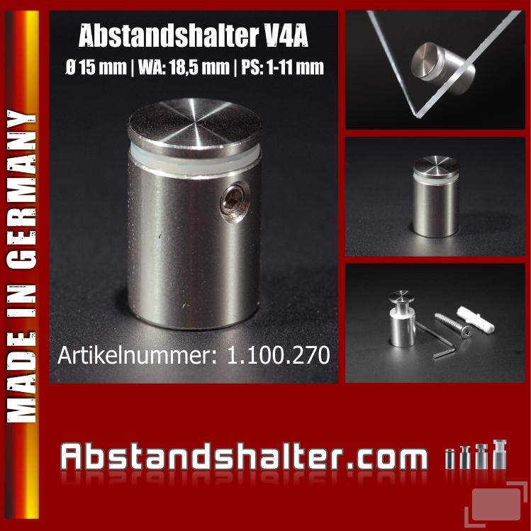 Abstandhalter Edelstahl V4A Ø 15 mm WA: 18,5 mm PS: 1-11 mm | Halter