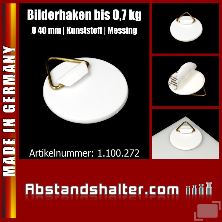 Bilder-Haken | Bild-Aufhänger Ø 40 mm selbstklebend mit Messing-Öse für Wandteller | Bilder | Schilder