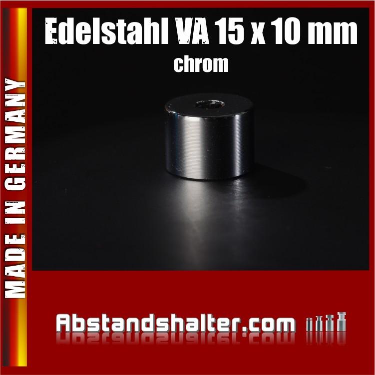 Distanzrolle aus Edelstahl verchromt (chrom) Ø 15 mm WA: 10 mm