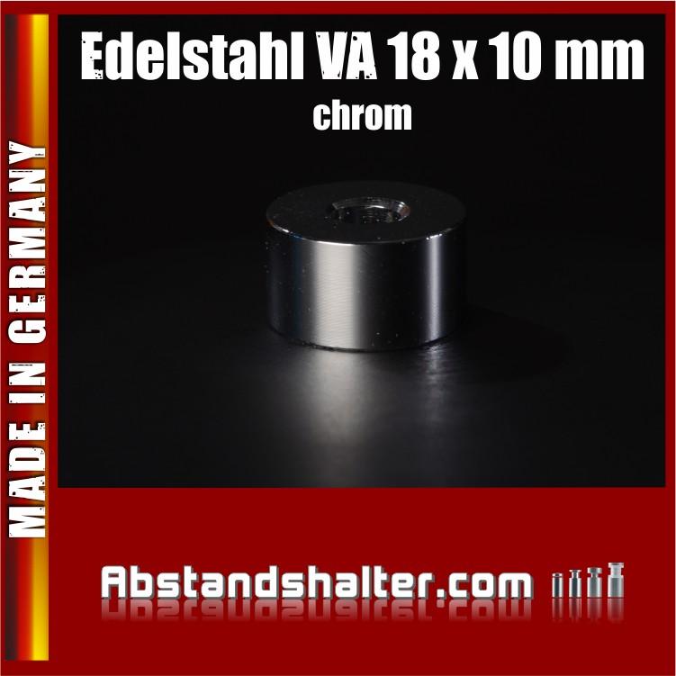 Distanzstück aus Edelstahl verchromt (chrom) Ø 18 mm WA: 10 mm