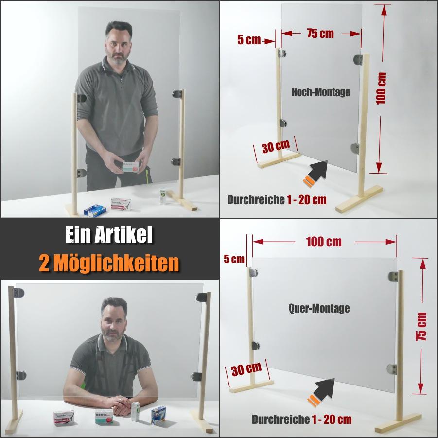 günstiger mobiler Spuckschutz Hustenschutz Thekenschutz Plexiglas 100x75 cm Holzfuß Glashalter