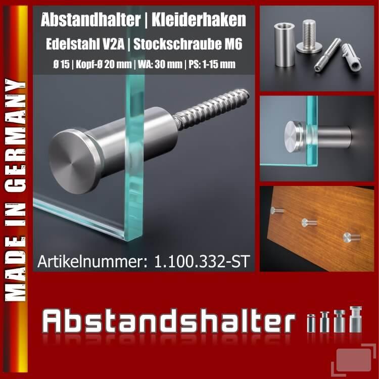 Handtuchhalter Kleiderhaken V2A schraubbar Ø15x30mm PS:1-15 | Stockschraube