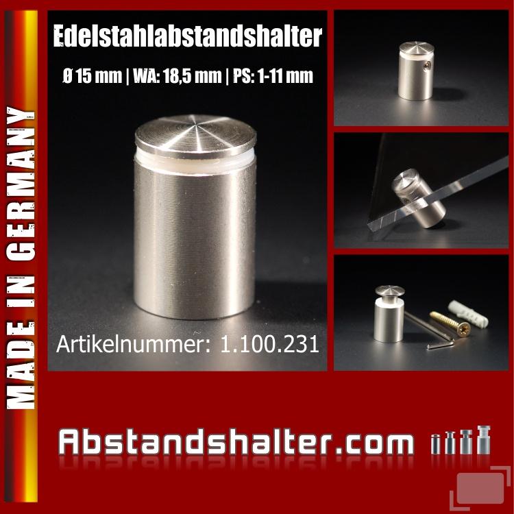 Edelstahlabstandshalter V2A angeschrägt Ø 15 mm WA: 18,5 mm PS: 1-11