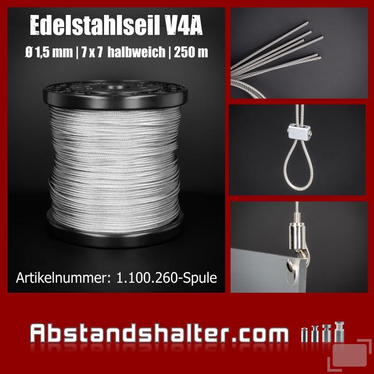 Edelstahlseil V4A 7x7 Seilstärke: 1,5 mm Länge 250 m Spule
