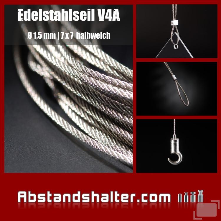 Edelstahlseil V4A Seilstärke: 1,5 mm | Deckenabhänger | Länge 1,5 m