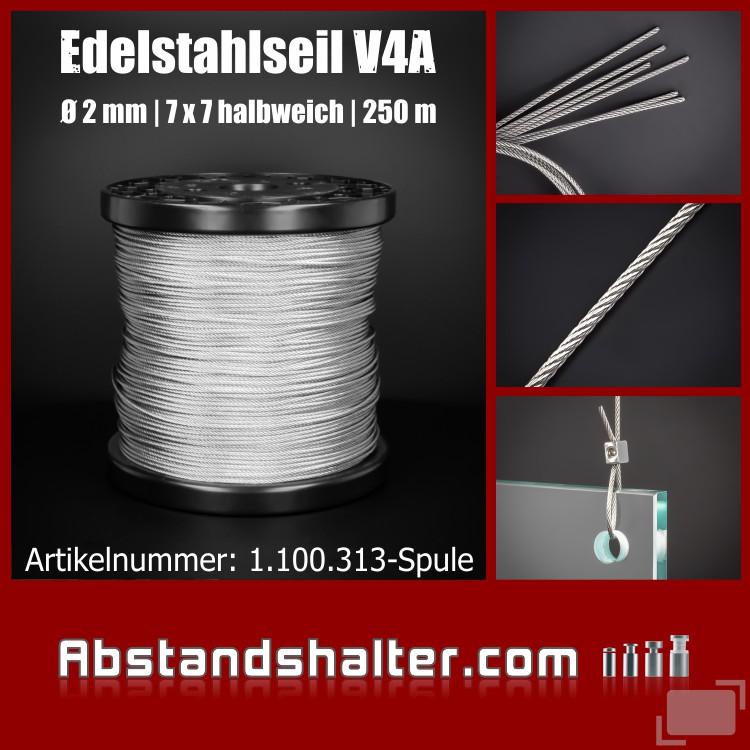 Edelstahlseil V4A 2mm 7x7 halbweich Seilbefestigung | Länge 250m Spule