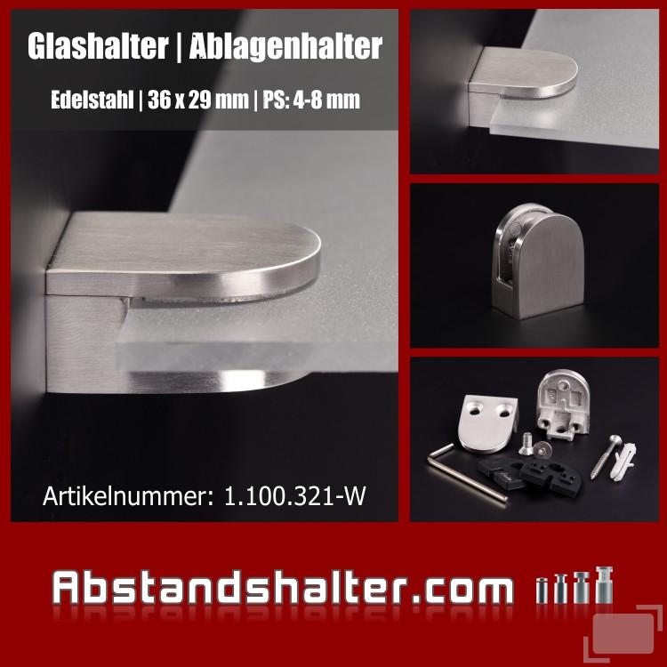 Glashalter | Ablagenhalter 36 x 29 mm Edelstahl für Wandmontage