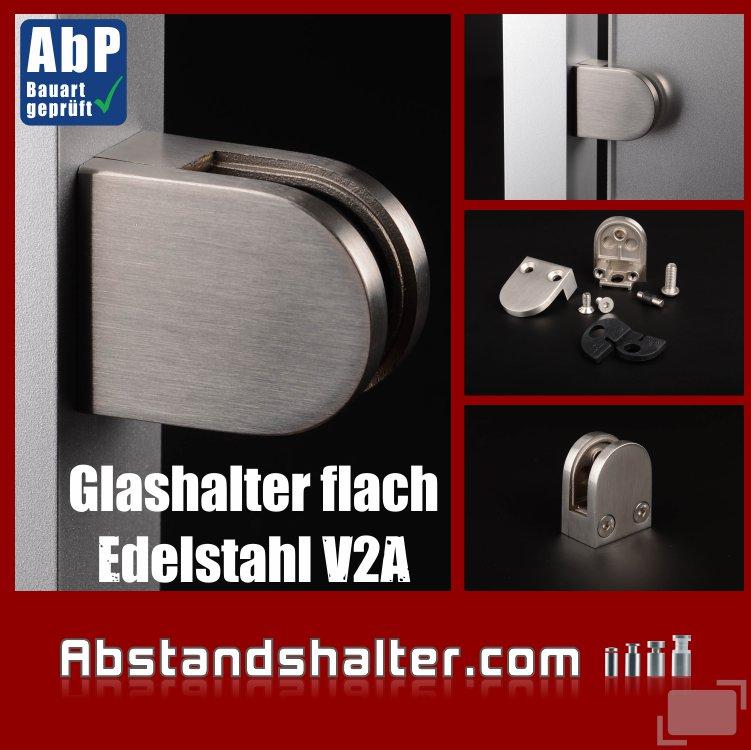 Glashalter Edelstahl flach für Glasplatten | Metall | Dibond | Kunststoff | Holz