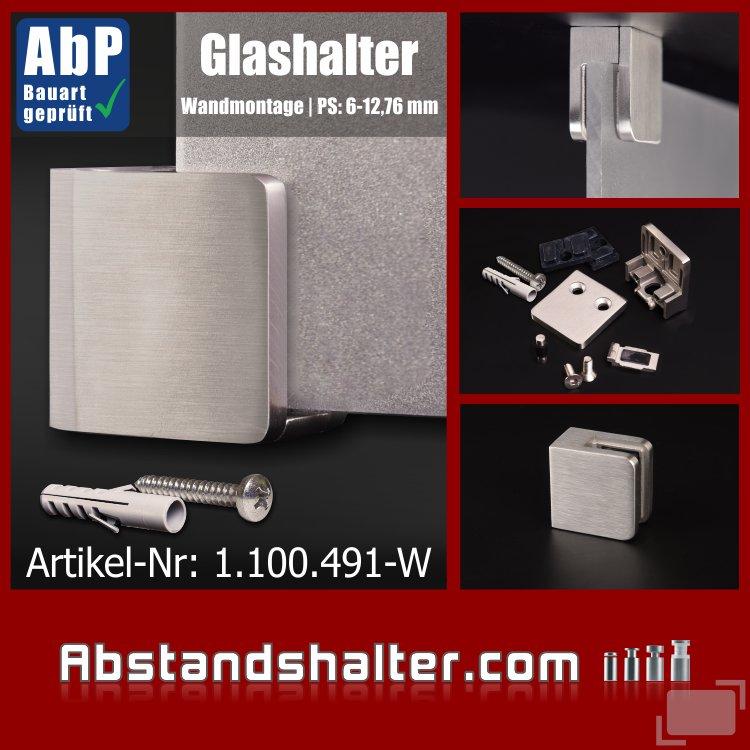 Glashalter mit Sicherung Edelstahl eckig 45x45 mm | Wandmontage | PS- 6 -12,76 mm | flach für Glasplatten | Metall | Blech | Kunststoff | Holz