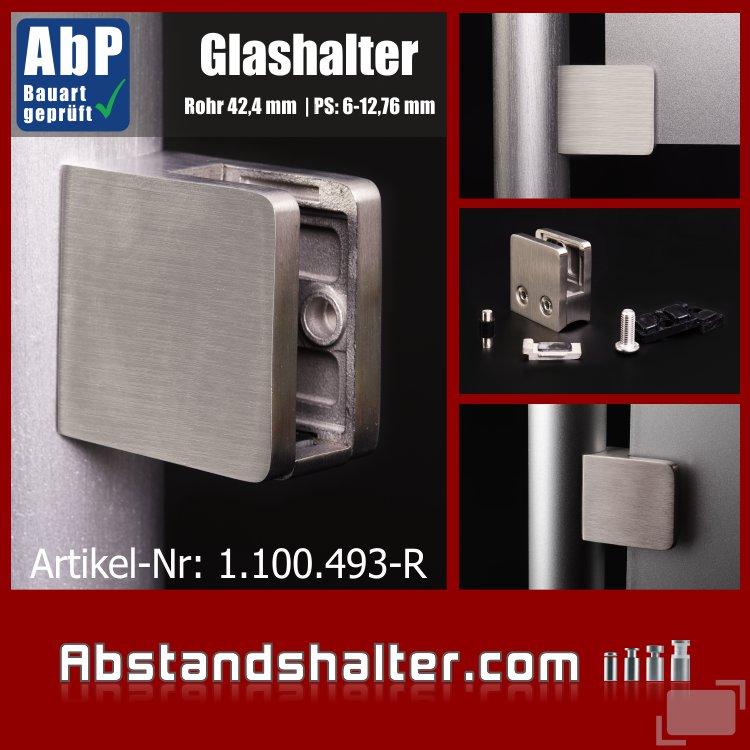 Glashalter mit Sicherung Edelstahl eckig 45x45 mm | Rohr Ø 42,4mm für Glasplatten | Metall | Blech | Kunststoff | Holz
