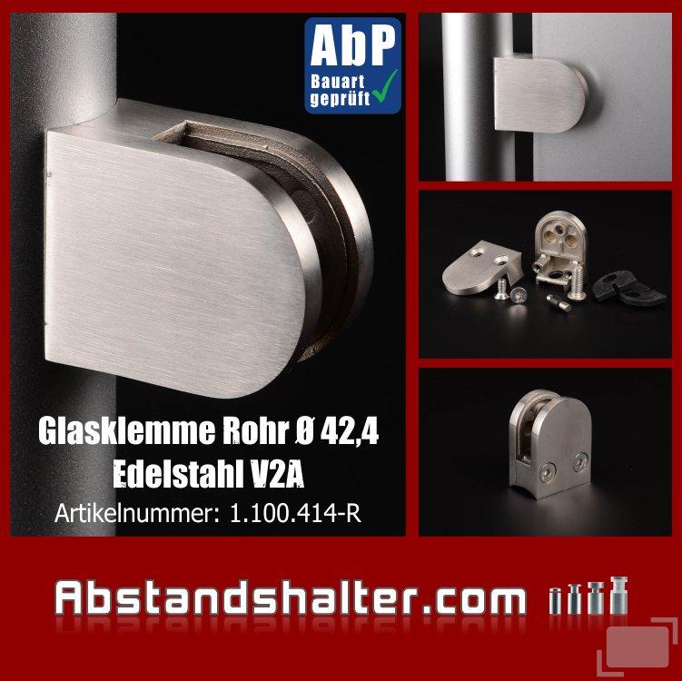 Glasklemme Edelstahl Rohr Ø 42,4mm für Glasplatten | Metall | Dibond | Kunststoff | Holz