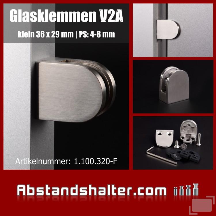 Glasklemmen Edelstahl V2A 36 x 29 mm  Gummieinlage PS: 4-8 mm | flach
