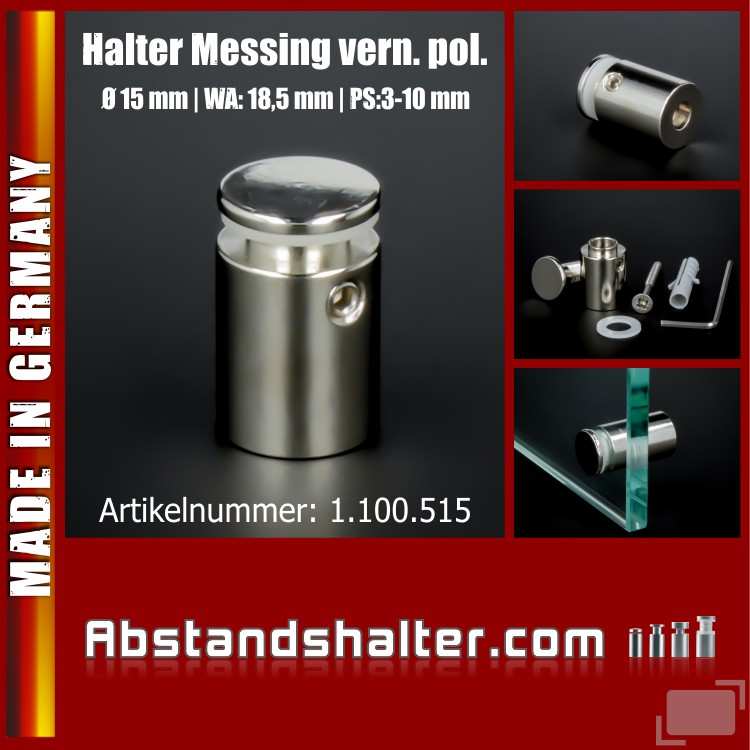 Halter Messing poliert vern. Ø 15 mm WA: 18,5 mm PS: 3-10 mm | flach