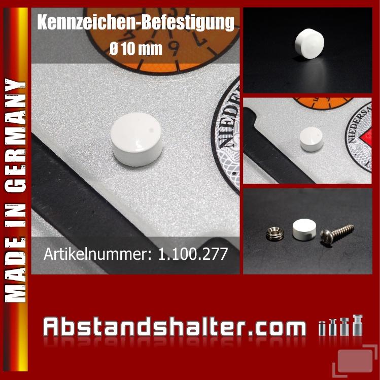 Kennzeichen-Befestigung Messing Lack weiß, Ø 10 mm | Schrauben