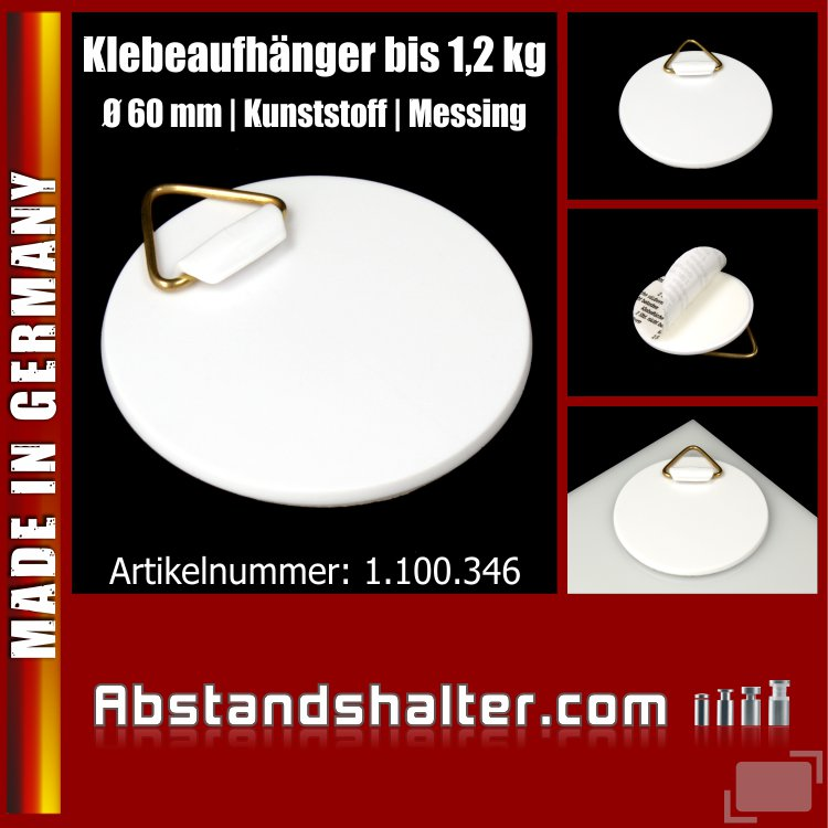 Klebeaufhänger aus Kunststoff Ø 60mm| Bildaufhänger Plastik bis 1,2 kg