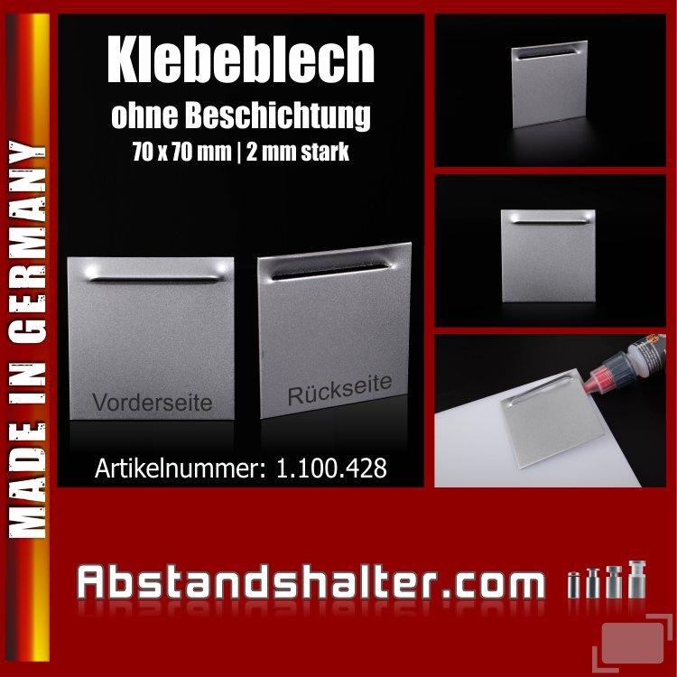 Blech abgewinkelt mit Kieme | 70x70 mm | 2 mm - ohne Klebefläche