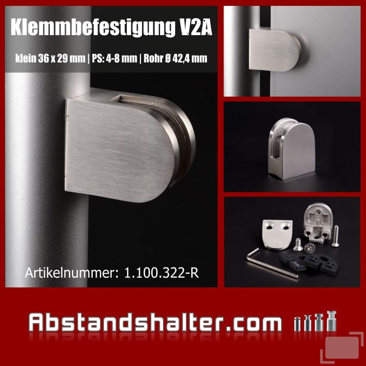Klemmbefestigung 36 x 29 mm Edelstahl für Rundrohr Ø 40-45 mm