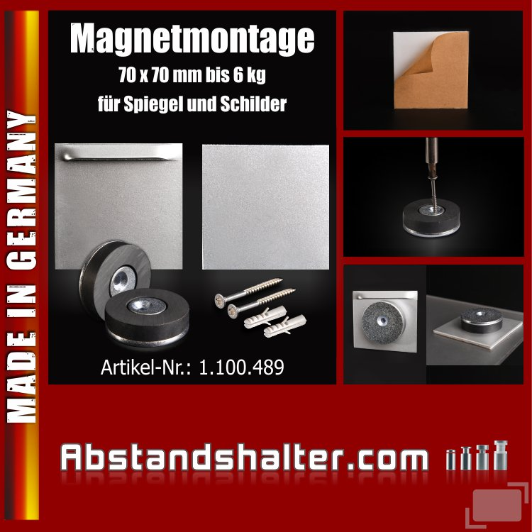 Magnet-Montage für Schilder Dibond Spiegel selbstklebend bis 6 kg | 70x70 mm