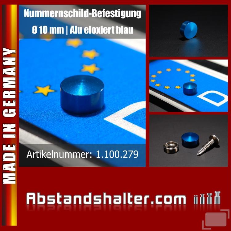 Kennzeichen-Befestigung Alu eloxiert blau, Ø 10 mm | Schrauben-Kappen