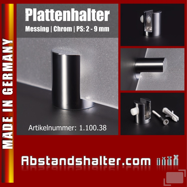 Plattenhalter rund Messing poliert | chrom Ø: 20 mm WA: 5 mm PS: 2-9 mm