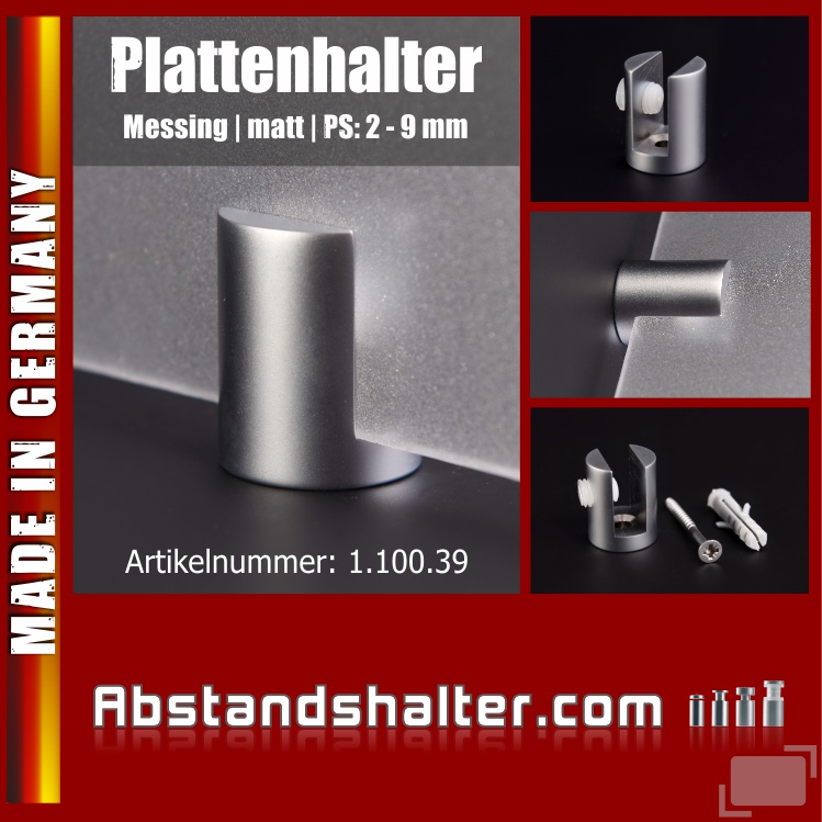 Plattenhalter rund Messing matt Ø: 20 mm WA: 5 mm PS: 2-9 mm