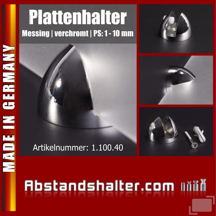 Plattenhalterung oval Messing verchromt Ø: 35 mm L: 25 mm WA: 5 mm PS: 1-10 mm