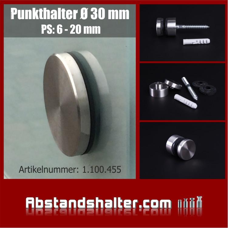 Glas-Punkthalter für Platten Edelstahl V2A Ø 30 mm + Stockschraube M8 x 80 mm