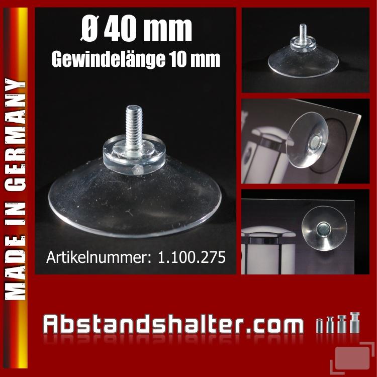 Saugnapf Ø 40 mm mit Gewinde-Stift M4 | Saugnäpfe | Gummisauger