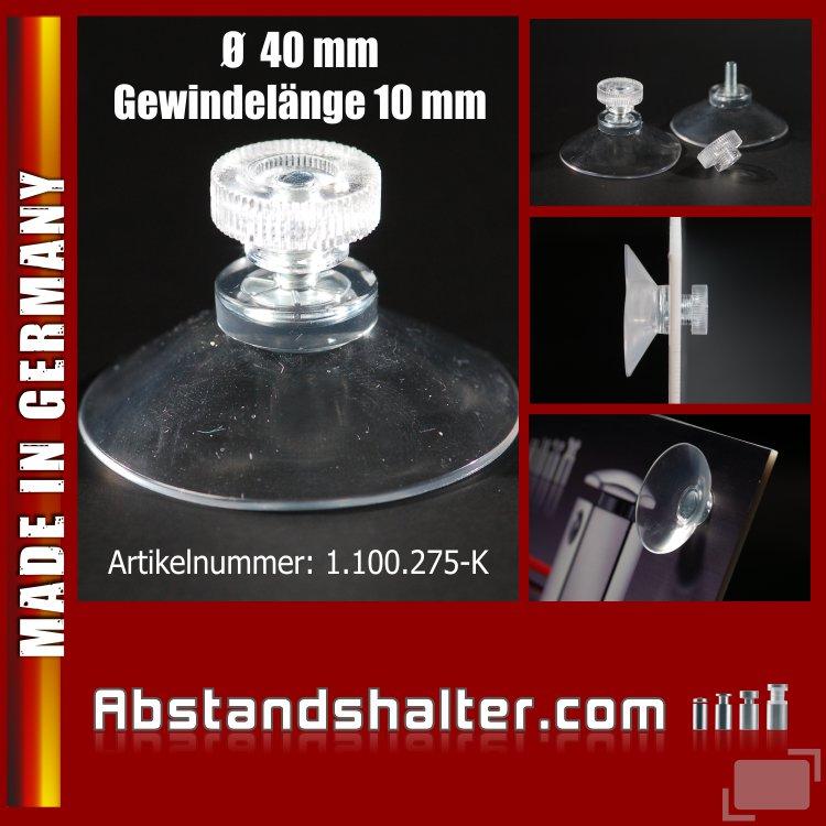 Saugnapf 40 mm Gewinde 10 mm + Rändelmutter klar-transparent