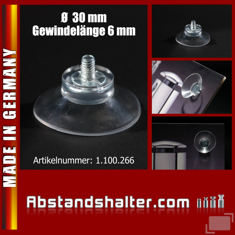 Saugnäpfe Ø 30 mm Sauger mit Gewinde-Stift 6 mm M4 | Gumminoppen