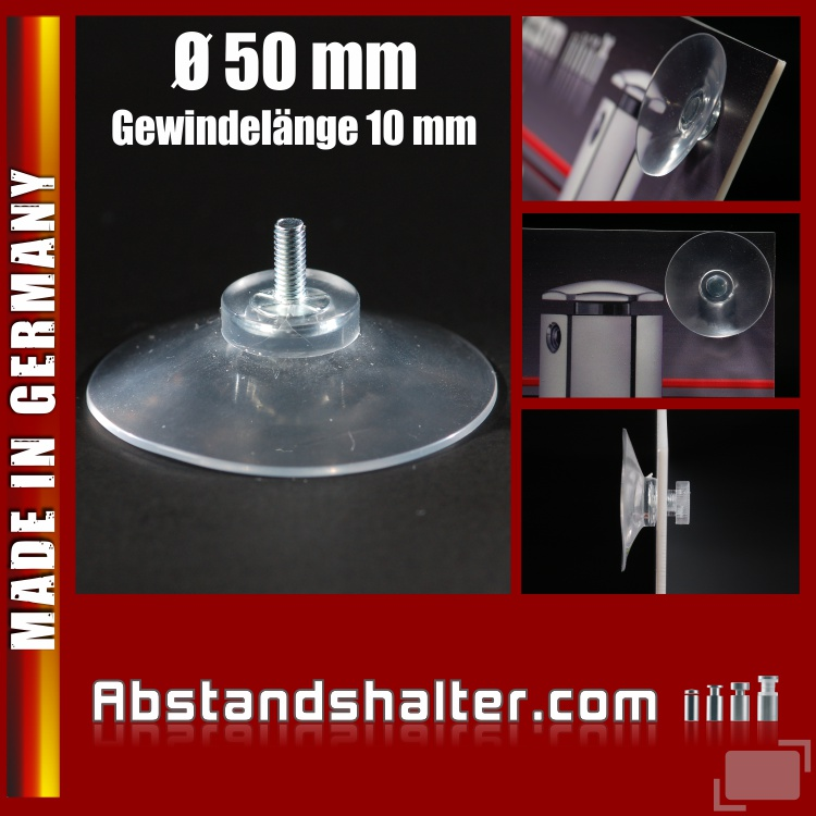 Saugnapf Ø 50 mm Gewinde 10 mm M4, Haftsauger | Kennzeichenbefestigung