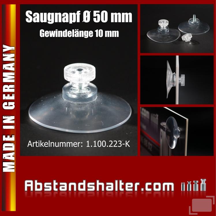 Saugnapf Ø 50 mm mit Gewinde 10 mm + Rändelmutter M4 | Kennzeichen