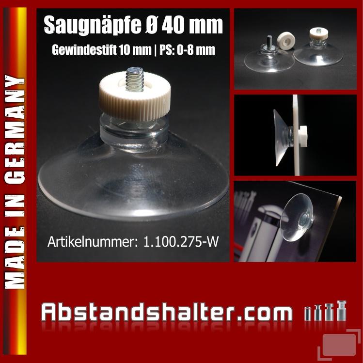 Saugnäpfe Ø 40 mm mit Gewinde-Stift 10 mm M4 | Saugnapf | Gummisauger