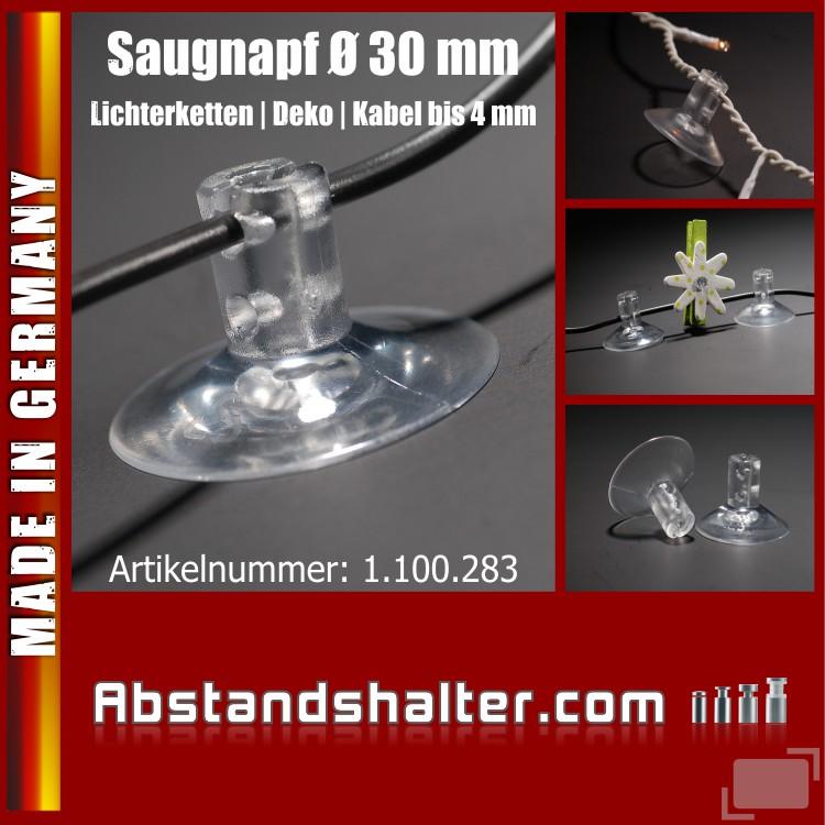 Saugnäpfe Ø 30 mm mit Schlitz - Querloch für Kabel und Lichterketten