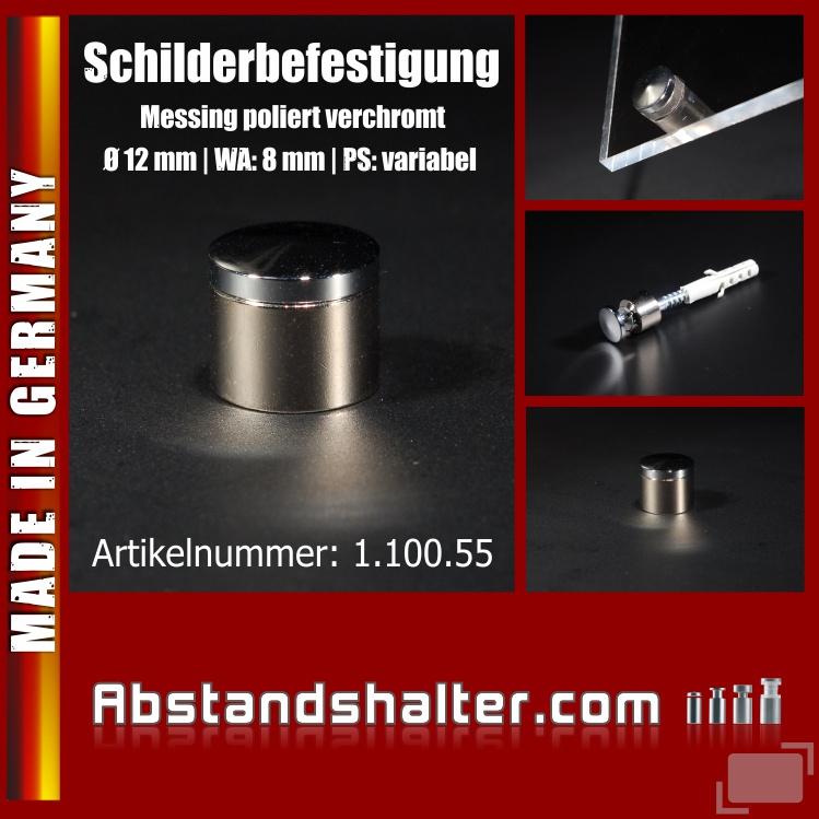 Schilderbefestigung Messing poliert verchromt Ø 12 mm WA: 8 mm PS: 1-14 mm variabel